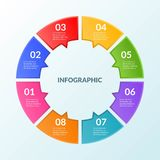 Infographic template of step or workflow diagram 8 steps. Vector illustration stock illustration