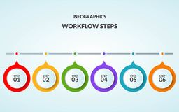 Infographic template of step or workflow diagram suitable for us. E in time line or sequence poster, vector illustration stock illustration