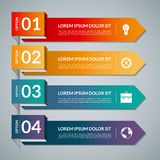Infographic template with 4 steps parts, options. Vector banner with business icons and design elements vector illustration