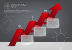 Infographic template with three steps and red arrow.  royalty free illustration