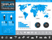 Infographic template for tourism, traveling and holiday transport with charts and diagrams Stock Images