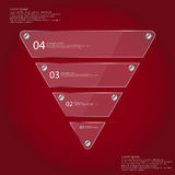 Infographic template with triangle from four glass parts on red Royalty Free Stock Photo