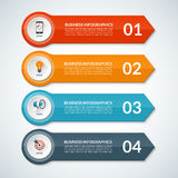 Infographic template. Vector banner with 4 steps, parts, options, arrows. Infographic template with arrows and buttons. Vector banner with 4 steps, parts Stock Images