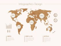Infographic template with world map in retro style stock illustration