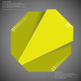 Infographic template with yellow octagon randomly divided to three parts Royalty Free Stock Images