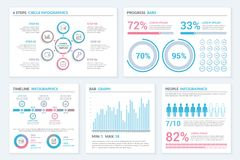 Infographic Templates. Infographic elements - circle infographics, progress bars, timeline and pie charts, bar graph, people infographics Stock Photos