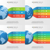 Infographic templates with globe with 3-6 options Royalty Free Stock Photo
