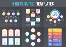 6 Infographic Templates. On dark background - workflow, process diagrams, steps options, circle infographics Stock Image