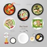 Infographic Thai Foods Business Flat Lay Idea. Vector Illustrati Royalty Free Stock Photo