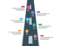 Infographic time line road and milestone template stock images