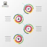Infographic timeline äganderätt för home tangent för affärsidé som guld- ner skyen till Färgrik cirkel med symboler också vektor  vektor illustrationer