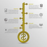 Infographic timeline. Business key concept template. Gold vector. Illustration Royalty Free Stock Image