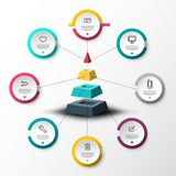 Infographic Timeline Concept with Sample Text. And Icons on Circle Labels around Pyramid. Vector Company Infographics Web Presentation or Data Flow Chart vector illustration