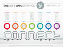 Infographic timeline about connect with seven parts. Time line o Stock Photography