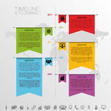 Infographic timeline design template with icons. F. Lag style. vector illustration Stock Photos