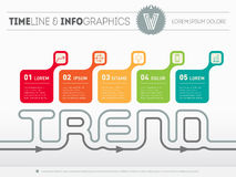 Infographic timeline with five parts. Time line of tendencies an Royalty Free Stock Photo