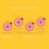 Infographic Timeline four step round circle target. Numers. Template. Flat design. Yellow background. Stock Photos