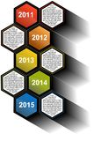 Infographic timeline report with colored hexagons. With text fields Stock Illustration
