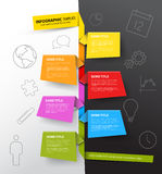 Infographic timeline report template made from colorful papers Royalty Free Stock Photos