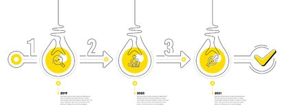 Free Infographic Timeline With Lamp Light Bulbs And Icons. 3 Steps Idea Journey Path Of Business Project Process. Vector Royalty Free Stock Images - 217214699