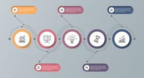 Infographic timelinemall med 5 alternativ Kan användas som ett diagram, diagrammet, grafen för affärspresentationen, årsrapporten Arkivbilder