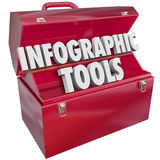 Infographic Tools Toolbox Creating Data Graphs Information. Infographic Tools words in 3d letters on a red metal toolbox to illustrate how to build, create or Stock Images