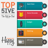 Infographic of top five the gift for dad for Fathers Day in flat design. Vector Illustration Royalty Free Stock Photos