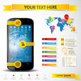 Infographic with a touch screen smartphone Royalty Free Stock Photos