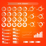 Infographic transparent vector. Orange, white and brown gradient. Infographics: percentage graphics of growht and arrows Stock Photos