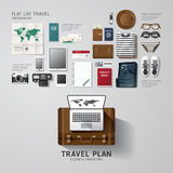 Infographic travel business flat lay idea. Royalty Free Stock Photography