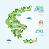 Infographic travel and landmark greece map shape template design Royalty Free Stock Image