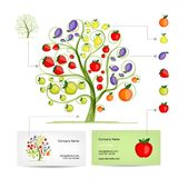 Infographic tree with fruits. Business card Royalty Free Stock Photo