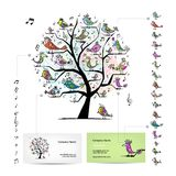 Infographic tree with funny birds. Easy editable Royalty Free Stock Images