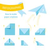 Infographic tutorial. How to make paper airplane. Scheme how to make paper airplane Vector Illustration