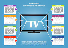 Infographic with TV and 8 options Royalty Free Stock Photo