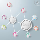 Infographic Two Hexagons Eight Options. Infographic with two hexagons and colorful rings. Eps 10  file Stock Photography