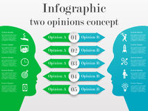 Infographic two opinions concept. Business template with 5 options for each side. Solution of the problem from two opposite points of mind Stock Photo