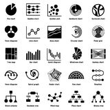 Infographic chart types icons set, simple style. Infographic types collection icons set. Simple illustration of 25 infographic types collection vector icons for Royalty Free Stock Photos