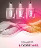 Infographic układ z światłami reflektorów nad zaawansowany technicznie tłem ilustracja wektor