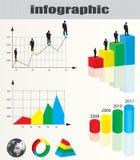 Infographic und Geschäftsmannansammlung Stockfoto