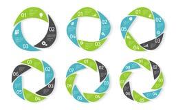 Infographic uppsättning för cirkelaffär kantlagrar låter vara vektorn för oakbandmallen royaltyfri illustrationer