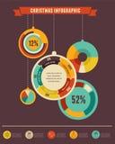 Infographic uppsättning för jul med databeståndsdelar stock illustrationer