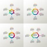 Infographic uppsättning för vektor Affärsdiagram, grafer rundar, presentationer och diagram cirkel stjärna oklarhet sexhörning Royaltyfri Foto