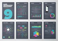 Infographic uppsättning med färgrika affärsvektorbeståndsdelar Arkivbild