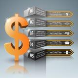 Infographic väg Dollar pengarsymbol Arkivfoto