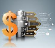 Infographic väg Dollar pengarsymbol Arkivbild