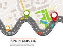 Infographic väg Färgrik stiftpekare Design för illustration för vektor för väggata infographic Affärsöversiktsmall stock illustrationer