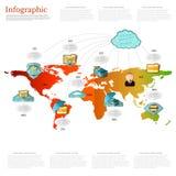 Infographic värld för informationslagring med symboler av mannen och symbolen för informationslagring lite varstans världen Royaltyfri Bild