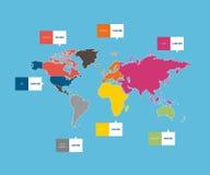 Infographic världskarta Arkivfoto