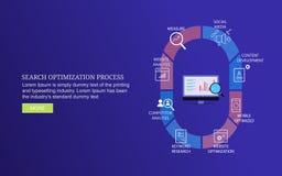 Infographic van het proces van de zoekmachineoptimalisering, produceert nieuw verkeer, klanten, verbetert omzetting, bedrijfs de  royalty-vrije illustratie